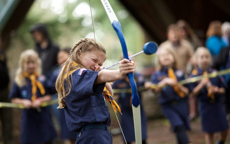 Cub Scouts, both boys and girls, participate in activities at Hoyt Arboretum on Sunday, Jan. 28, 2018 in Portland, Ore. (Craig Mitchelldyer/AP Images for Boy Scouts of America)